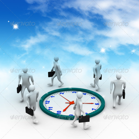 Group of businesspeople run and beat for time. - Stock Photo - Images