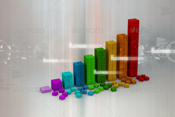 3d graph showing rise in profits or earnings - Stock Photo - Images