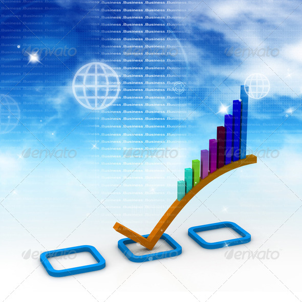3d Business graph in abstract background - Stock Photo - Images