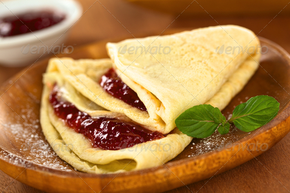 Crepe with Strawberry Jam - Stock Photo - Images