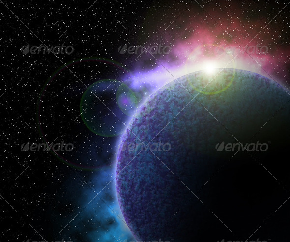 Planet in Space Background - Stock Photo - Images