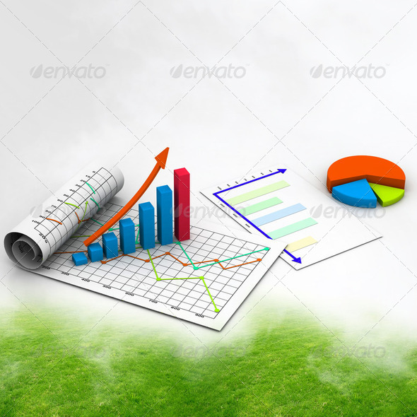 Business graph with chart in abstract background - Stock Photo - Images