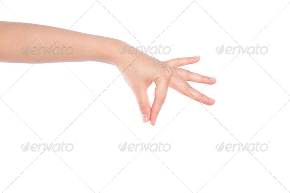 Woman hand picking  isolated on white background - Stock Photo - Images