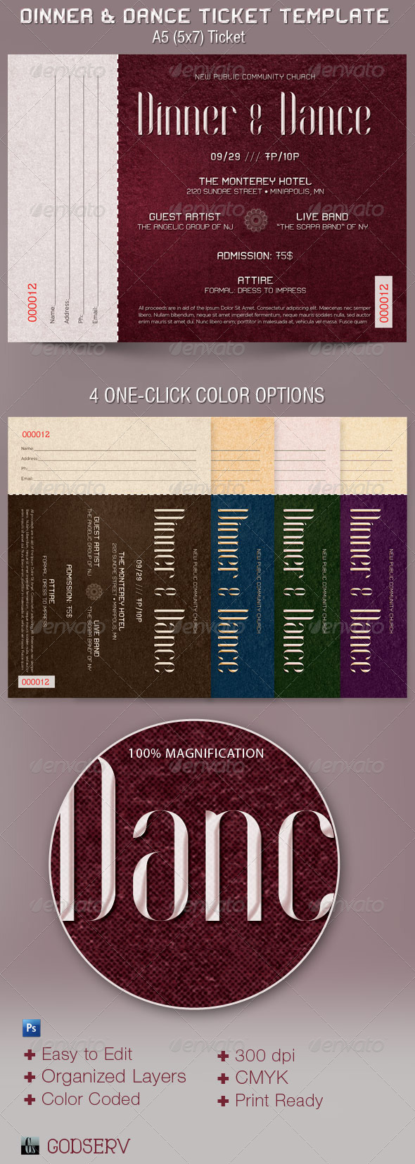 Dinner and Dance Ticket Template - Miscellaneous Print Templates