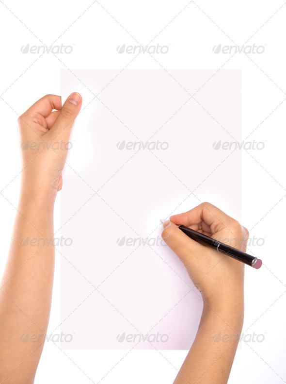 Hands with pen over paper isolated on white background - Stock Photo - Images
