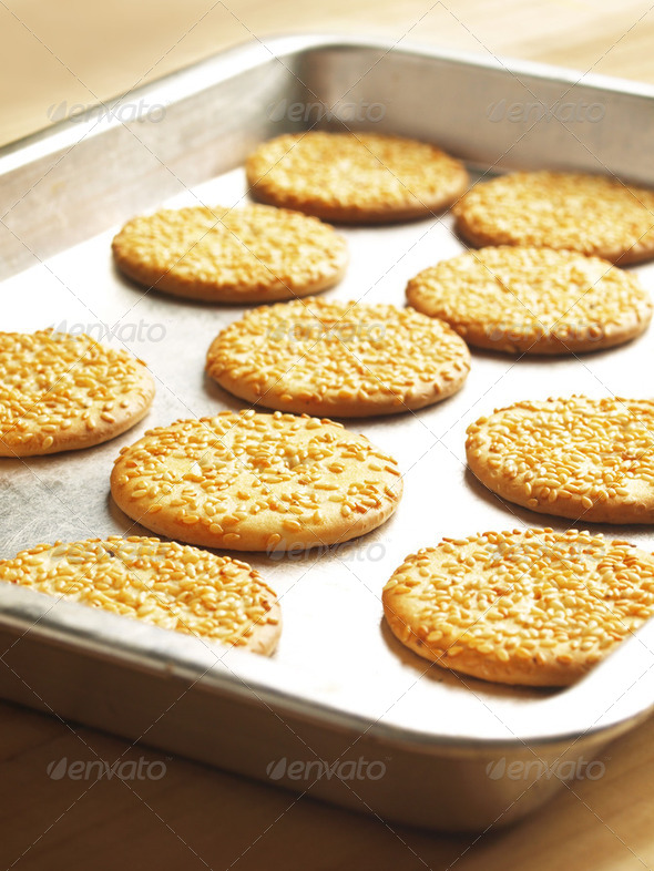 sesame biscuits - Stock Photo - Images