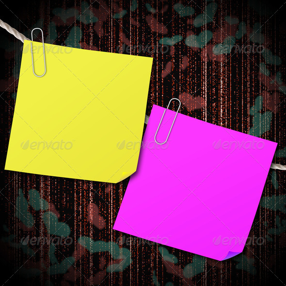 Yellow and pink sticky note with clip hang on the rope with heart shape background - Stock Photo - Images