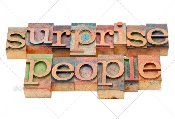surprise people in wood type - Stock Photo - Images