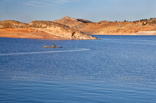 sea kayak on a Colorado mountain lake - Stock Photo - Images