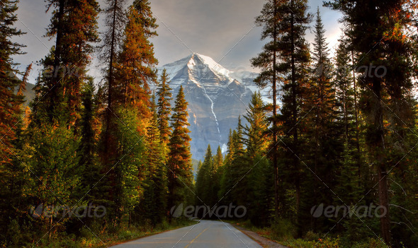 Mount Robson in autumn - Stock Photo - Images