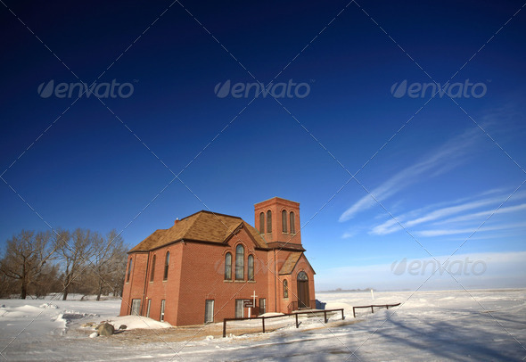 Old United Church near Regina Saskatchewan Canada - Stock Photo - Images
