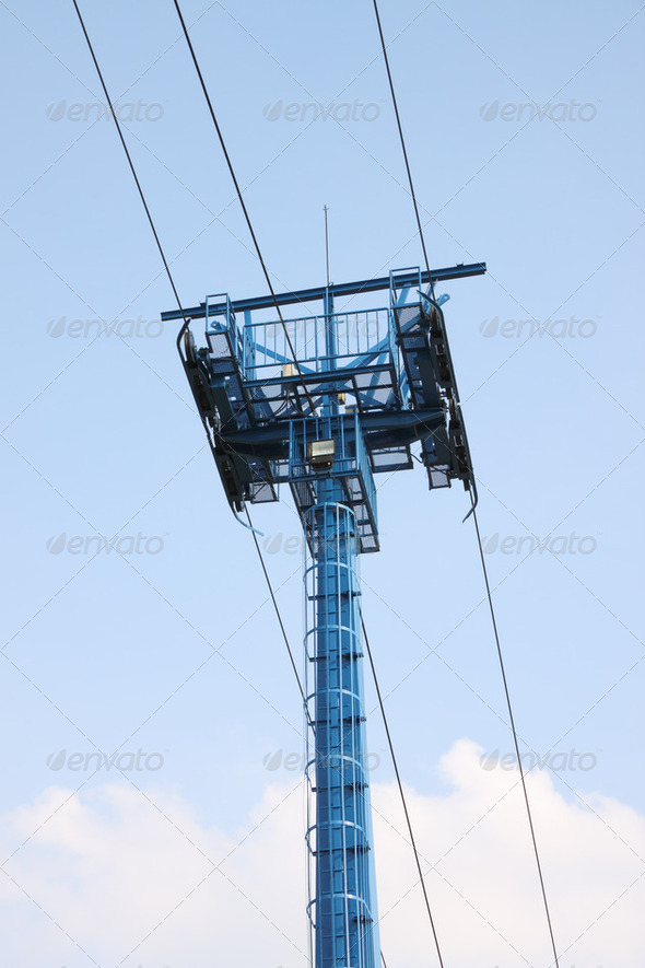 Blue pole of cable car. - Stock Photo - Images
