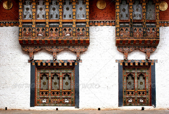 Bhutanese windows - Stock Photo - Images