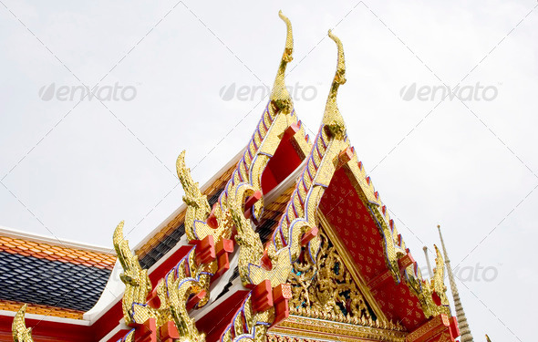 Roof of Temple in Bangkok - Stock Photo - Images