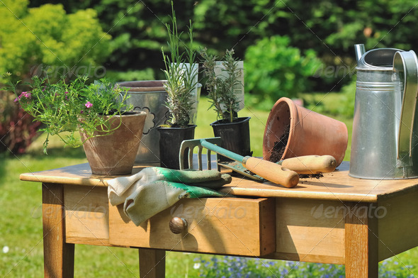 gardening table - Stock Photo - Images