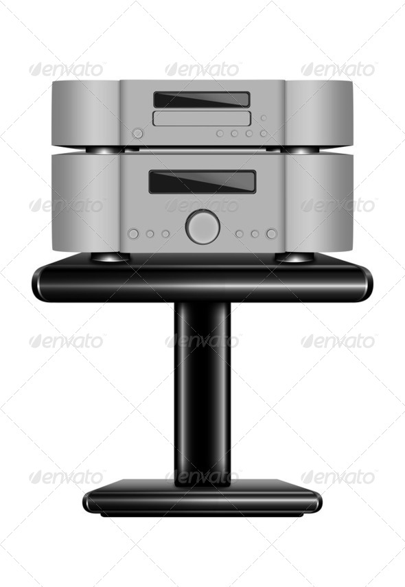 Hi-Fi CD player on rack - Stock Photo - Images