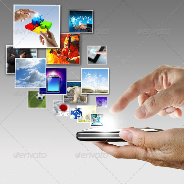 hand holds touch screen mobile phone streaming images - Stock Photo - Images