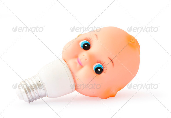 Bulb with baby toy head - Stock Photo - Images