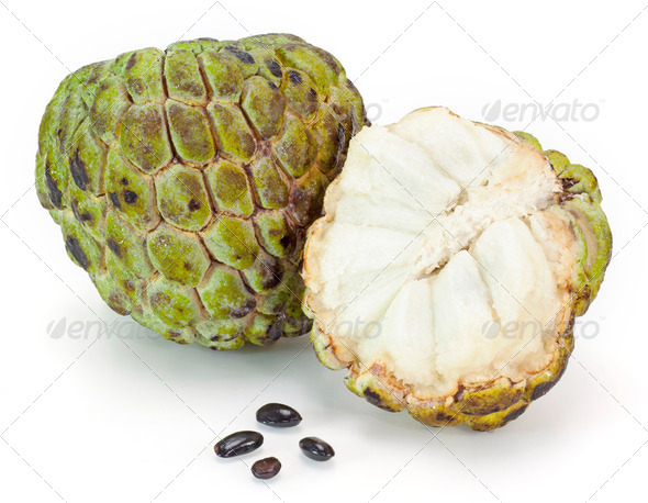 custard apple on white background - Stock Photo - Images