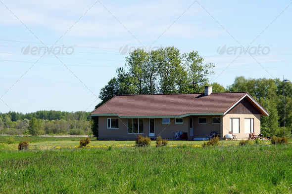 The house and field - Stock Photo - Images