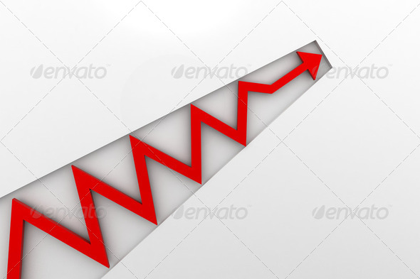 red arrow in business graph - Stock Photo - Images