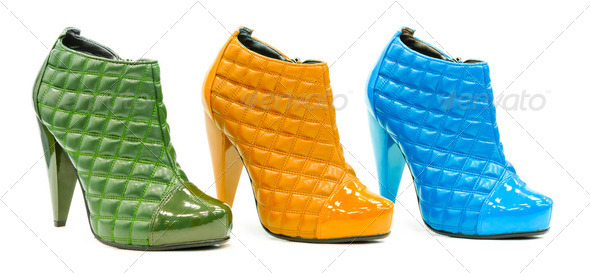 Three colorful leather stylish shoes with high heel and decorate - Stock Photo - Images
