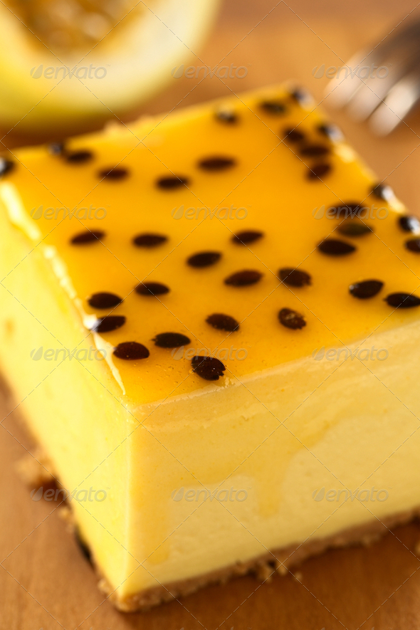 Passion Fruit Cheesecake - Stock Photo - Images