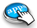 apps blue button and pointer hand - PhotoDune Item for Sale