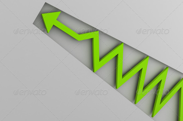 green arrow in business graph - Stock Photo - Images