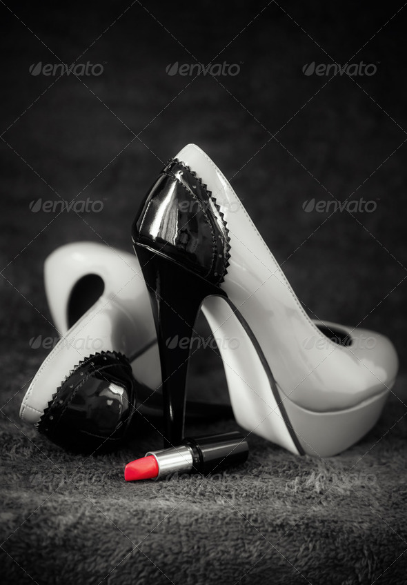 Women dress shoes with lipstick - Stock Photo - Images