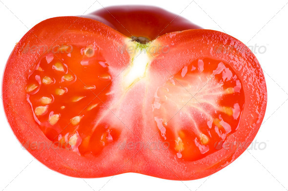 Half of tomato isolated on white background - Stock Photo - Images