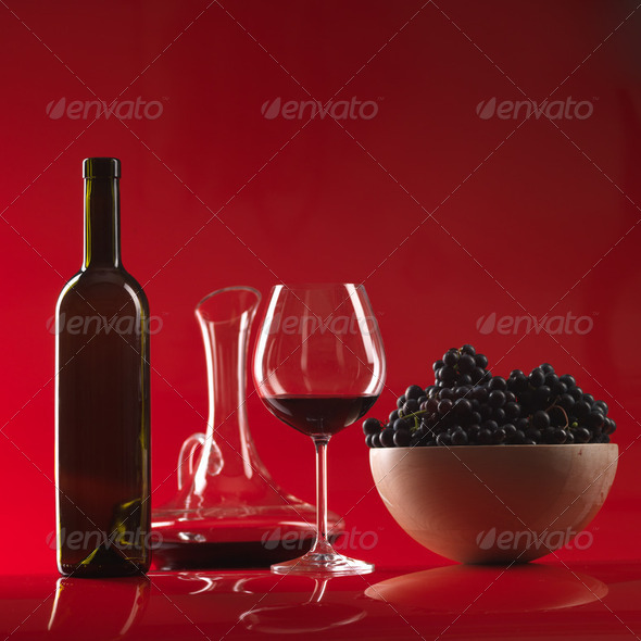 glass red wine, bottle, grapes and pitcher - Stock Photo - Images