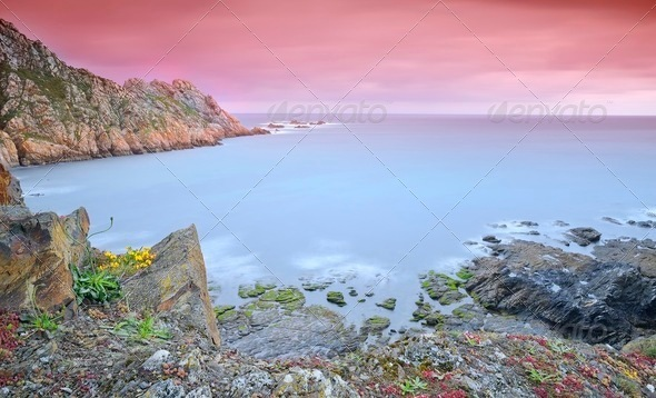 Coastal landscape in spring. - Stock Photo - Images