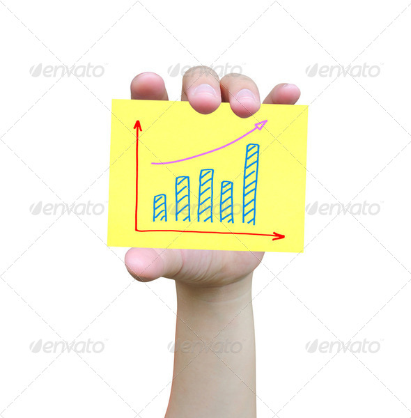 women hand and business graph - Stock Photo - Images