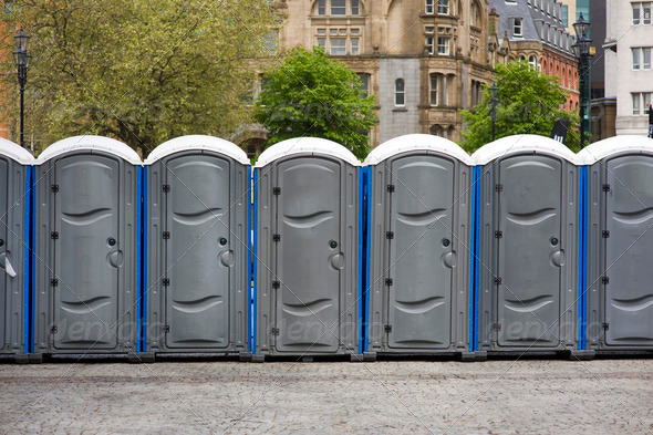 portaloos at an outdoor event - Stock Photo - Images