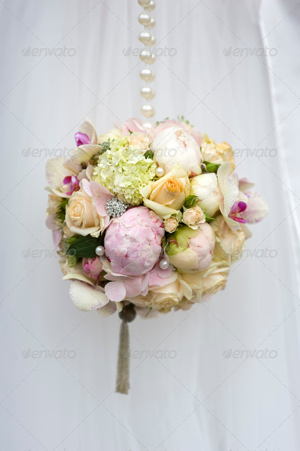 spherical wedding bouquet - Stock Photo - Images