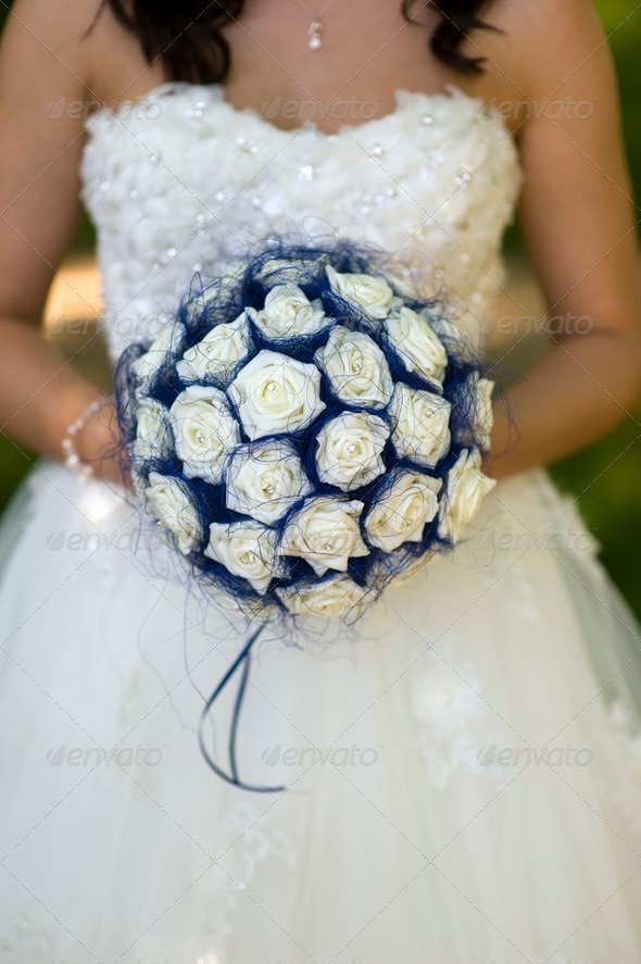 bride with fake flowers - Stock Photo - Images