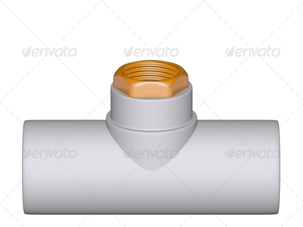 Fitting - PVC connection wye inside thread - Stock Photo - Images