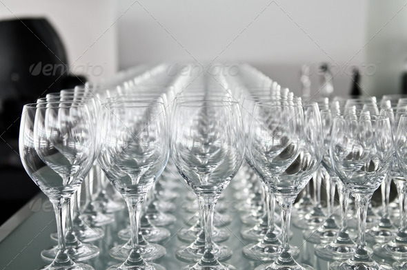 A lot of wine glasses in a row - Stock Photo - Images