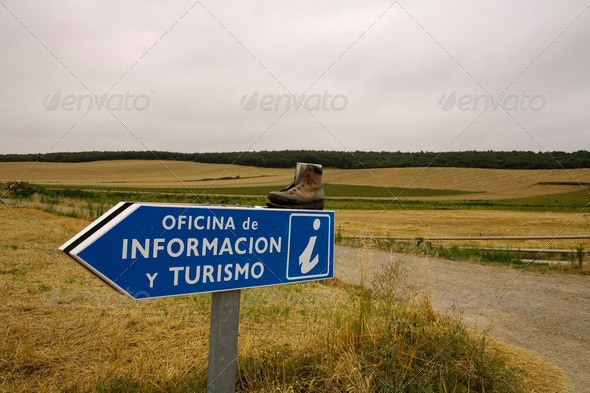 Road signs and boot broken - Stock Photo - Images