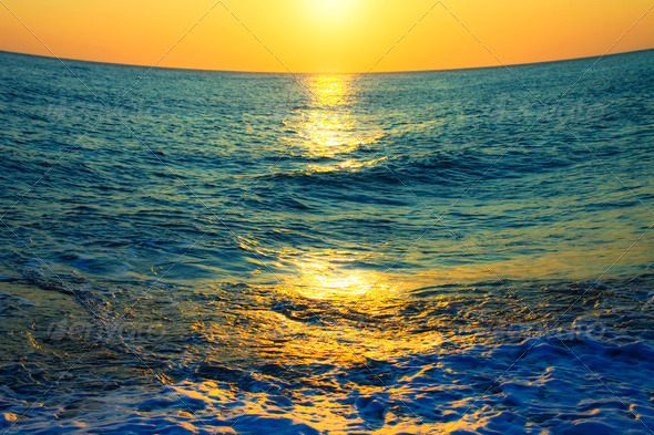 Sunset at Sea - Stock Photo - Images