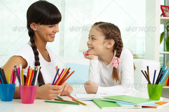 Girl with mother - Stock Photo - Images
