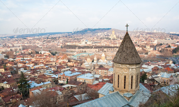 Panoramic view from Narikala Fortress. Tbilisi. Georgia. - Stock Photo - Images