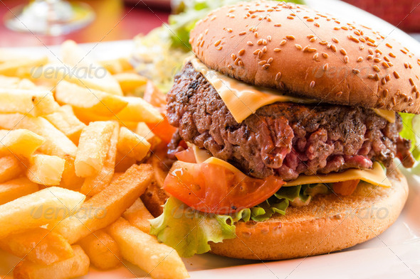 Cheese burger - Stock Photo - Images