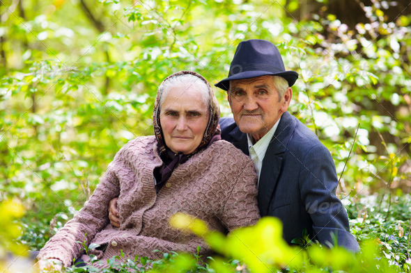 Senior couple relaxing outdoor - Stock Photo - Images