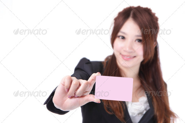 business Woman hand holding blank card - Stock Photo - Images
