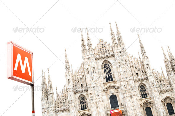 Milan Cathedral Dome and Metro Underground Signal. Italy, Europe - Stock Photo - Images