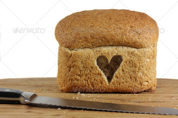 Whole loaf with love heart symbol - Stock Photo - Images