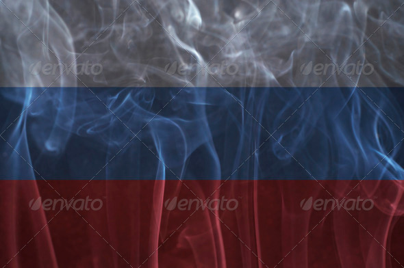 Russia flag overlay on smoke technique. - Stock Photo - Images