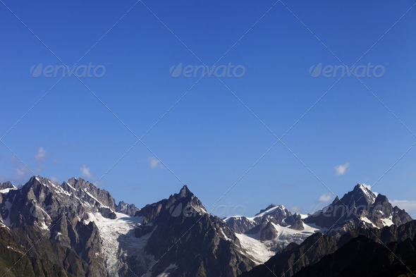 High mountains and blue sky - Stock Photo - Images